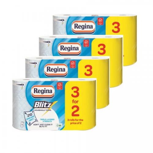 12 Regina Blitz 3ply Kitchen Roll Paper Towels