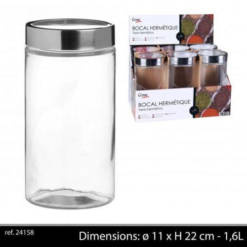 1600 ML GLASS STORAGE JAR WITH CHROME LID