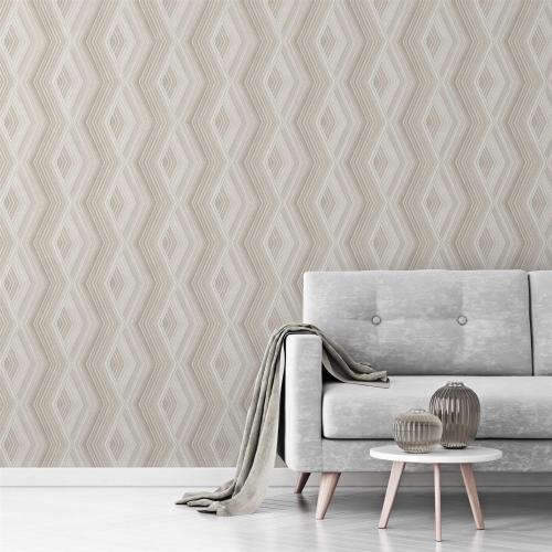 Crown Aura Latte Geometric Wallpaper Natural 52cm x 10.05m