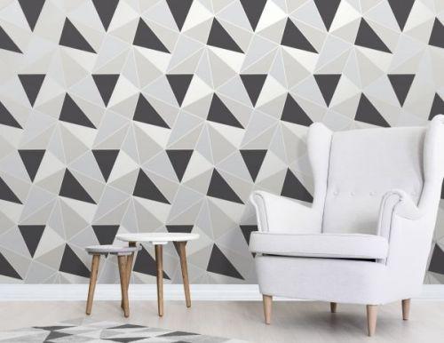 Elegant Apex Geo Sidewall Black Silver Wallpaper Wall Decoration 0.52m x 10.05m