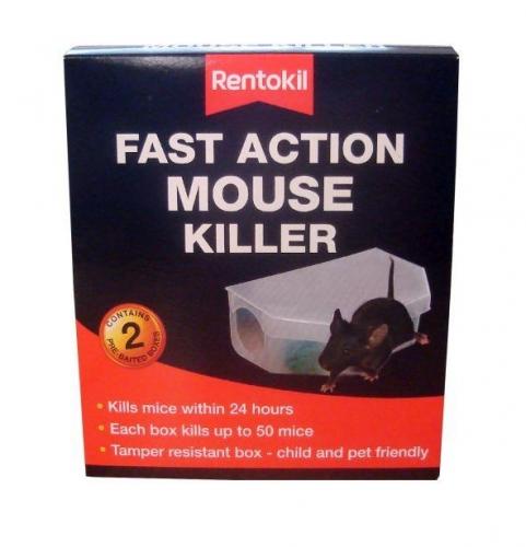 Pack of 2 Rentokil Fast Action Mouse Killer Poison Trap Bait
