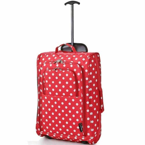 5 Cities Red polka Dot Lightweight Trolley Bag