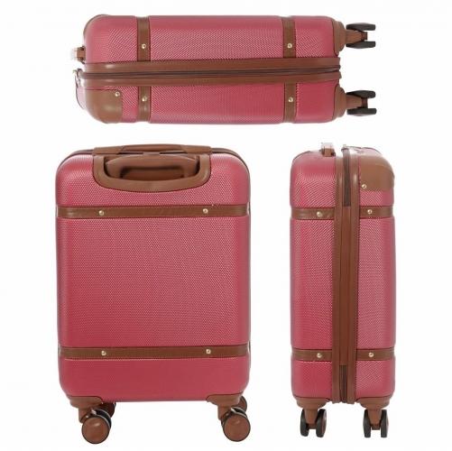Aerolite Stylish Retro Vintage Hard Shell Suitcase With 4 Wheels 55x35x20Cm