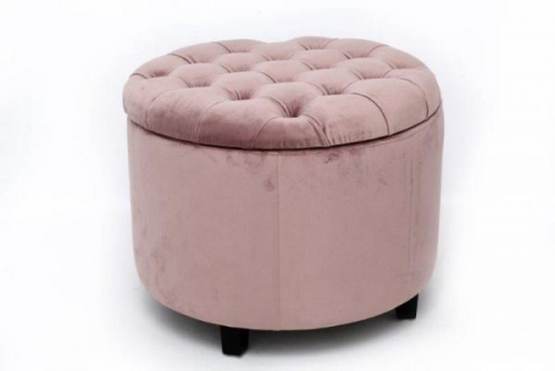 50X50 Pink Velvet Round Stool Ottoman Storage Box Pouffe