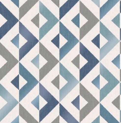 Crown Scandi Diamond Geometric Blue Teal Metallic Wallpaper Grey Shimmer