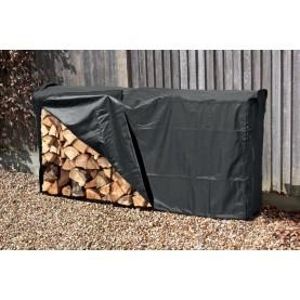 2m Log Store With Cover Outdoor Garden Fire Log Storage Unit
