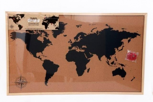 60X90 Framed Cork Board World Map With Pins maps may be different than shown