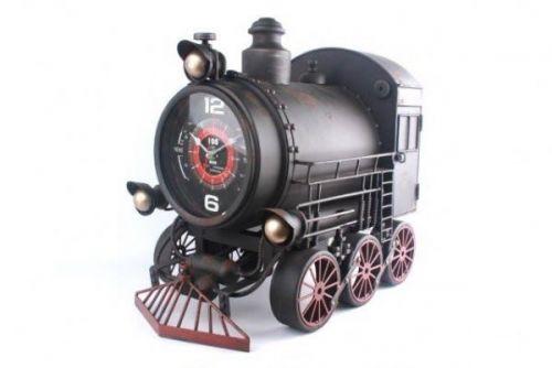 52X47Cm Steam Engine Retro Train Rustic Metal Wall Clock Massive
