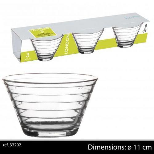 Urban Living 3Pk London Glass Dessert Dishes 11Cm