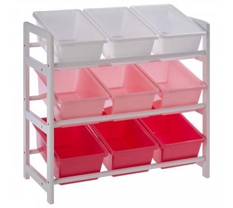 Premier Housewares 3 Tier White/Pink Kids Storage Unit