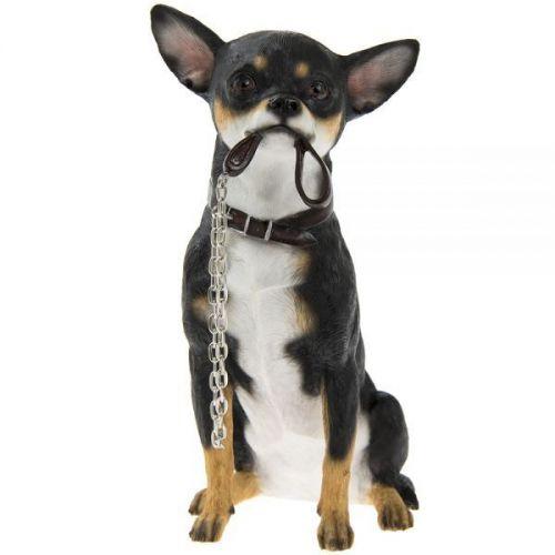 20Cm Walkies Black Chihuahua Sitting Dog Ornament Home Decoration Figurine