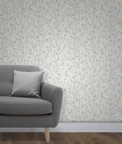 Elegant Twiggy Sidewall Grey Wallpaper Wall Decoration 0.52m x 10.05m