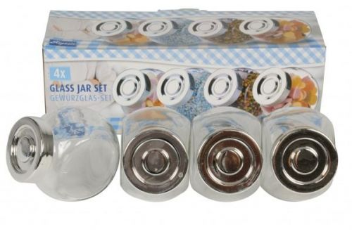 4 Piece Glass Spice Jar Set Small For Multi Purpose Storage Jars Kitchen