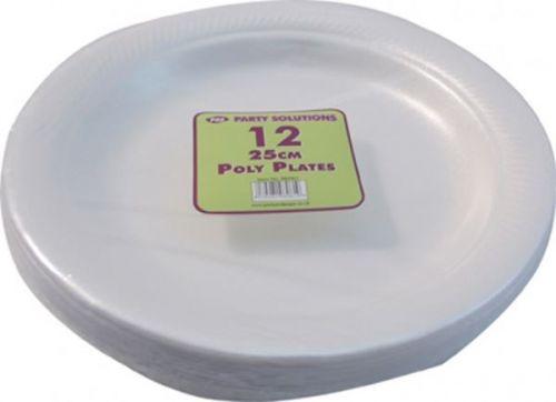 25cm 12pcs Polystyrene Plates Disposable Foam Party Serving Plate