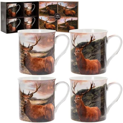 British Wildlife Stag Design Set of 4 Fine China Mugs Boxed Gift