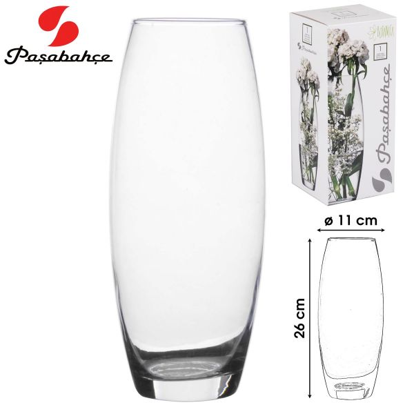 Flora Tulip Glass Vase Transparent 26cm
