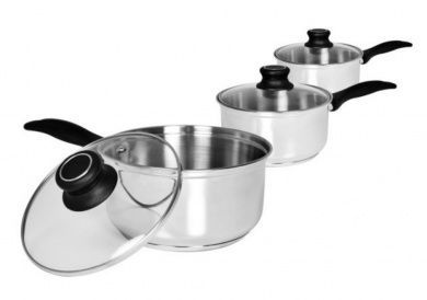 3pc Stainless Steel Saucepan Set with Glass Lid 14cm 16cm 18cm