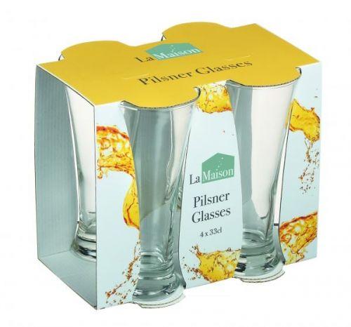 Pack of 4 La Maison Pilsner Glassware Drinks Beer Tumbler Glasses 33cl