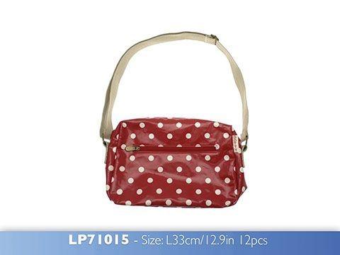 Dotty Vintage Shoulder Bag Red made from Oilcloth
