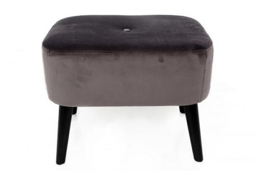 55x41x52cm Grey Velvet Square Stool Leg Rest with Wooden Legs