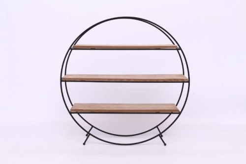 50Cm Round Wire Wood Shelf Unit Home Office Decoration