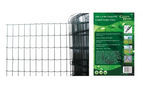 10m X 0.9m Green PVC Coated Garden Fence Wire Edging Fencing Net