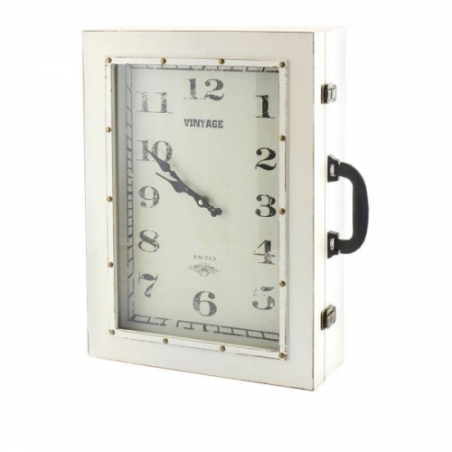 Suitcase Style Clock Cabinet Cream With Clock Wall Hanging 36X48Cm