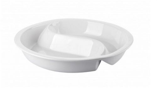 39cm Round 2 Division Porcelain Ceramic Insert for Induction Chafer Food Pan