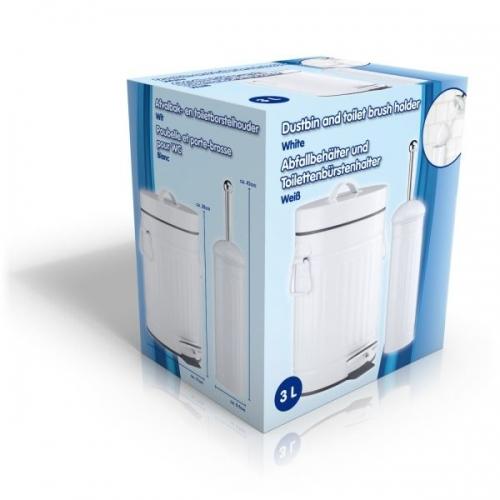Bathroom Pedal Dust Bin 3L And Toilet Brush Holder Set White