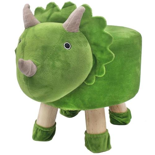 Dinosaur Design Round Stool Wooden Legs Green