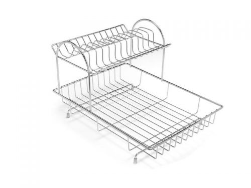 2 Tier Kitchen Sink Dish Stainless Steel Draining Rack