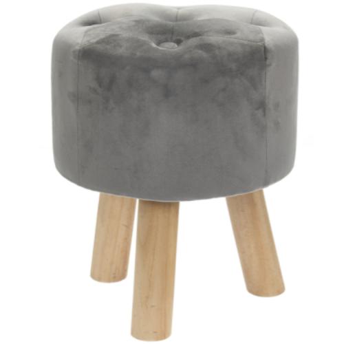 Grey Velvet Round Foot Stool Modern Home Decor