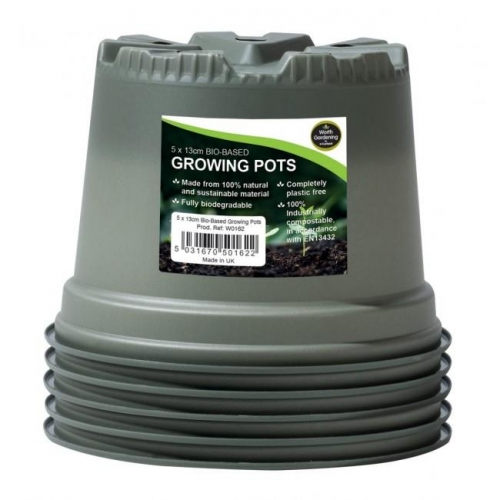 13cm Bio-Based Growing Pots pack of 5