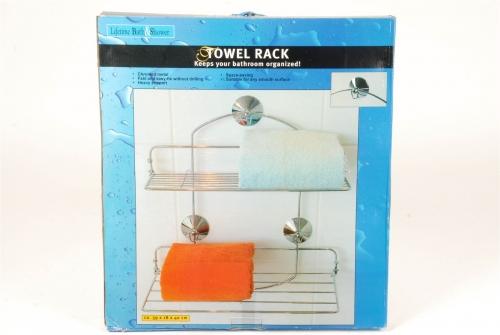 Chromed Metal Towel Rack for Bathroom Heavy Support Space Saving