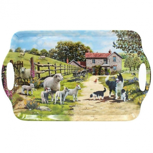Collie and Sheep Design Large Melamine Food Tea Serving Tray