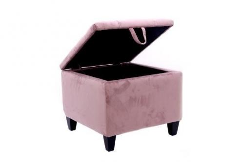 47X47X39 Pink Velvet Stool Ottoman Storage Box Pouffe