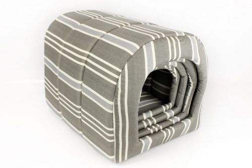 Set Of 4 Grey Stripe Indoor Pet House Fabric Comfortable Pet Cave Den Bed