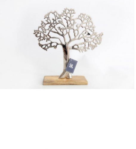 Silver Metal Tree Decorative Ornament On Wooden Base30x33cm
