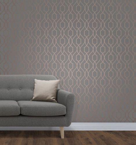 Elegant Apex Trellis Sidewall Copper Charcoal Wallpaper Wall Decoration 0.52m x 10.05m