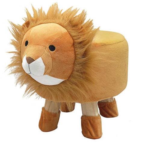Lion Design Round Stool Wooden Legs Childrens