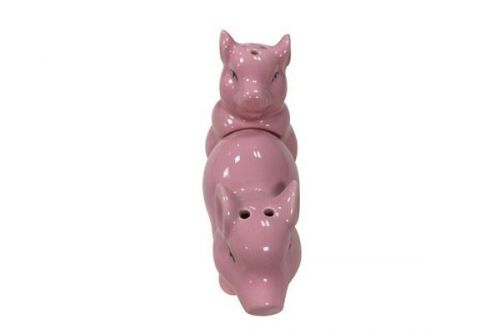Salt & Pepper Mill Ceramic Pink Making Bacon Style Gift idea Condiment set