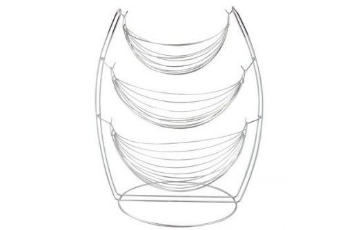 65Cm 3 Tier Chrome Wire Hanging Bowl Fruit Vegetable Basket