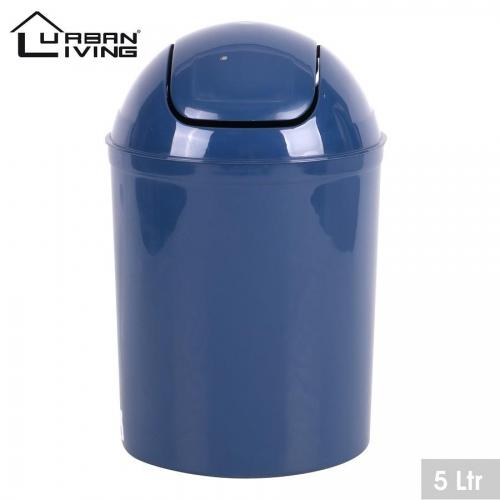 Dark Blue Plastic 5 Litre Mini Swing Top Lid Waste Bin Office Home Bathroom