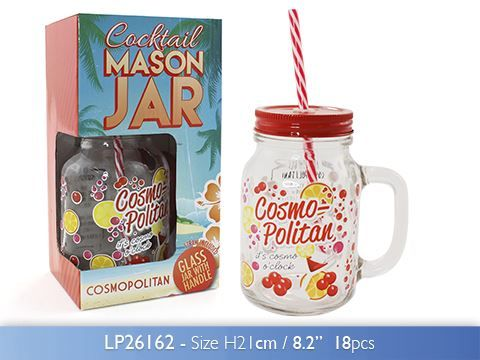 500 Ml Cocktail Cosmopolitan Glass Mason Jar With Handle Lid And Straw