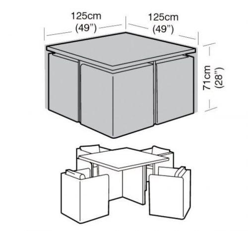 4 Seater Medium Garden Cube Set Furniture Waterproof Cover 125Cm Black