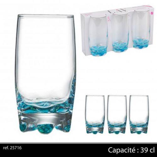 3Pk Hi Ball Glasses 39Cl Turquoise