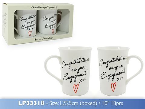 Congratulations On Your Engagement Set Of 2 Cups Mugs Gift Pack