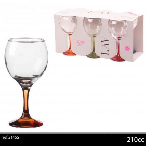 6Pk Wine Glasses 21Cl Asst Colours