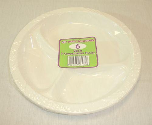 26cm 3 Compartment Plates Disposable Plastic Plates Pack of 6