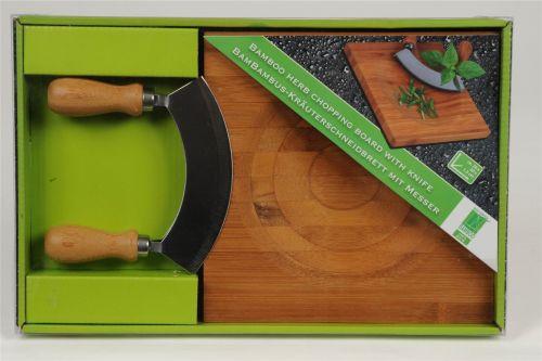 Bamboo Herb Chopping Board and Knife